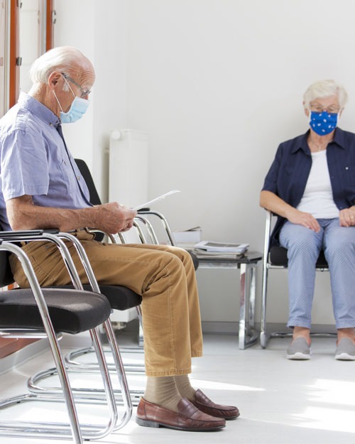 Social distancing measures are in place throughout the clinic